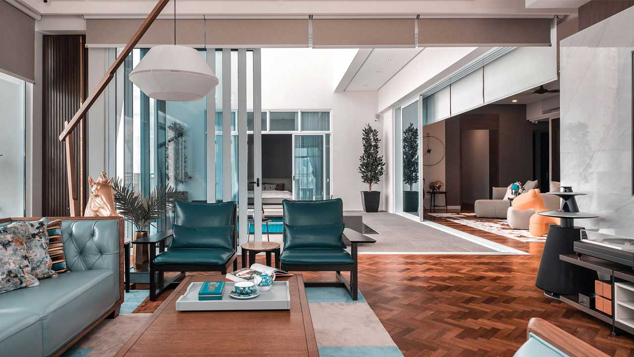 Andaman at Quayside penang condominium interior design living hall by Eowon Design & Architecture