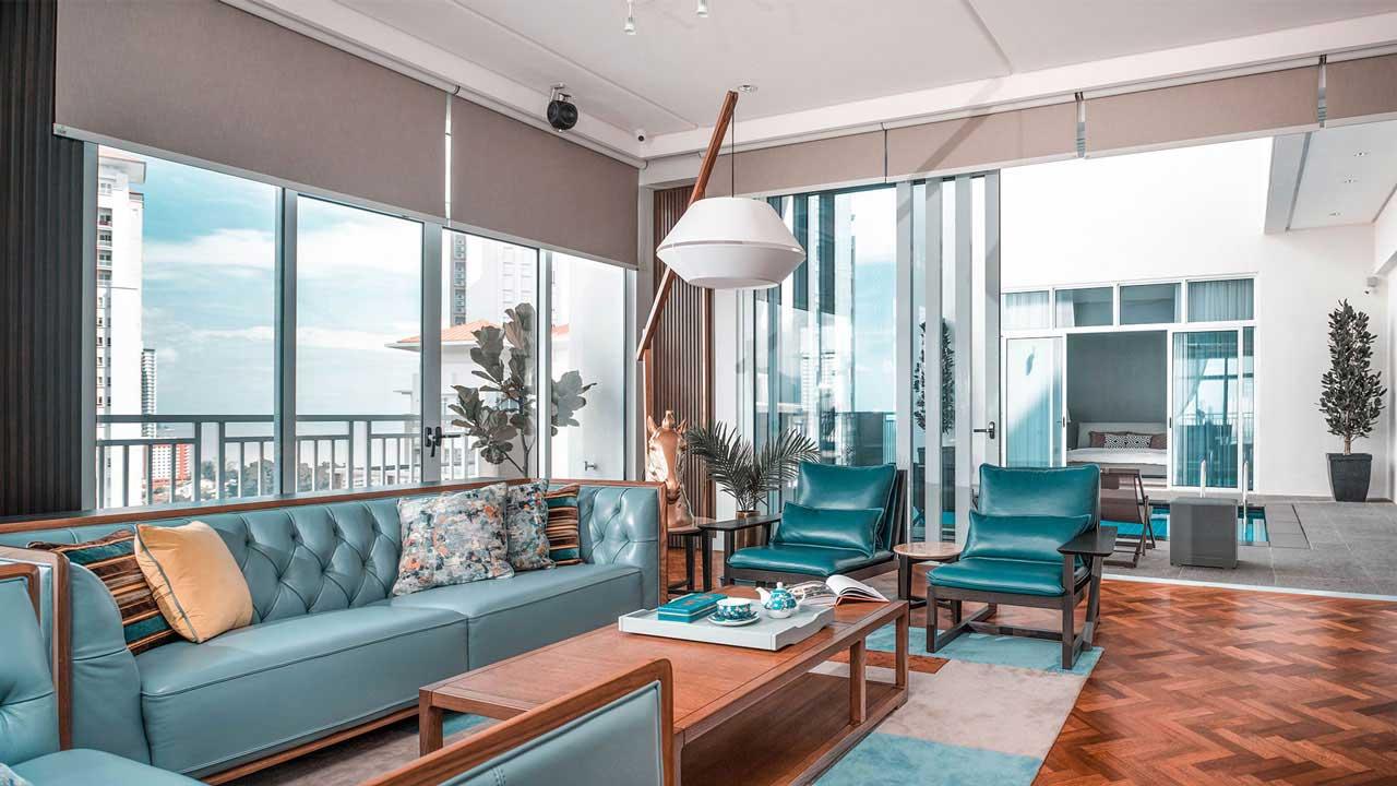 Andaman at Quayside penang condominium interior design living room 01 by Eowon Design & Architecture