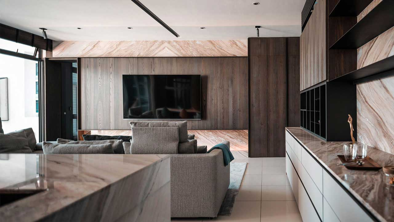 IJM Land The Light Collection 3 condominium penang interior design Palisandro Classico marble by Eowon Design & Architecture